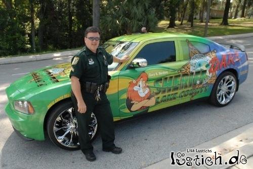 Buntes Polizeiauto