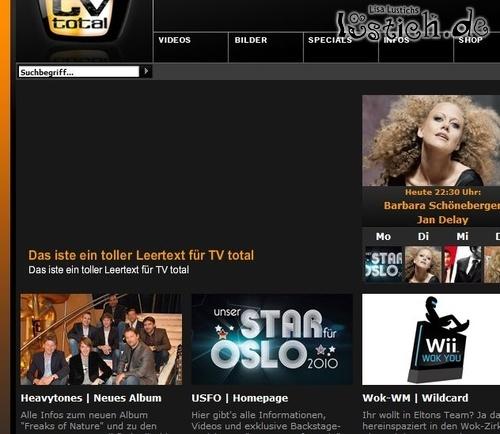 TV Total Website inhaltslos